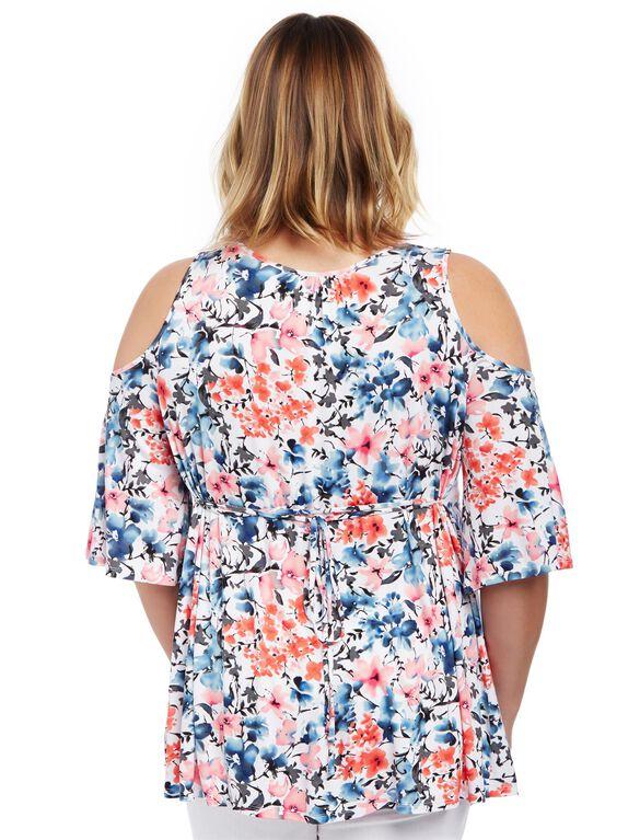 Plus Size Cold Shoulder Maternity Blouse, Watercolor Floral