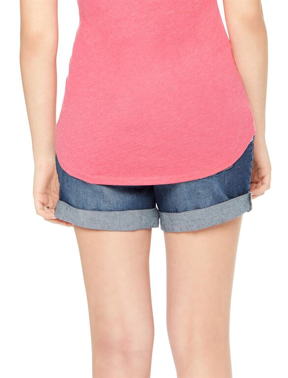 Under Belly Roll Hem Maternity Shorts, Eclipse Dark Wash