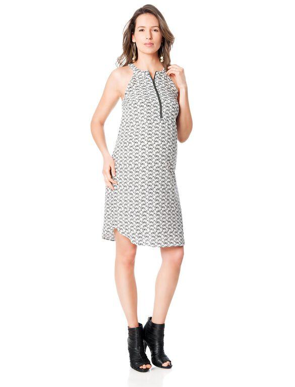 Splendid Zip Front Maternity Dress, White Print