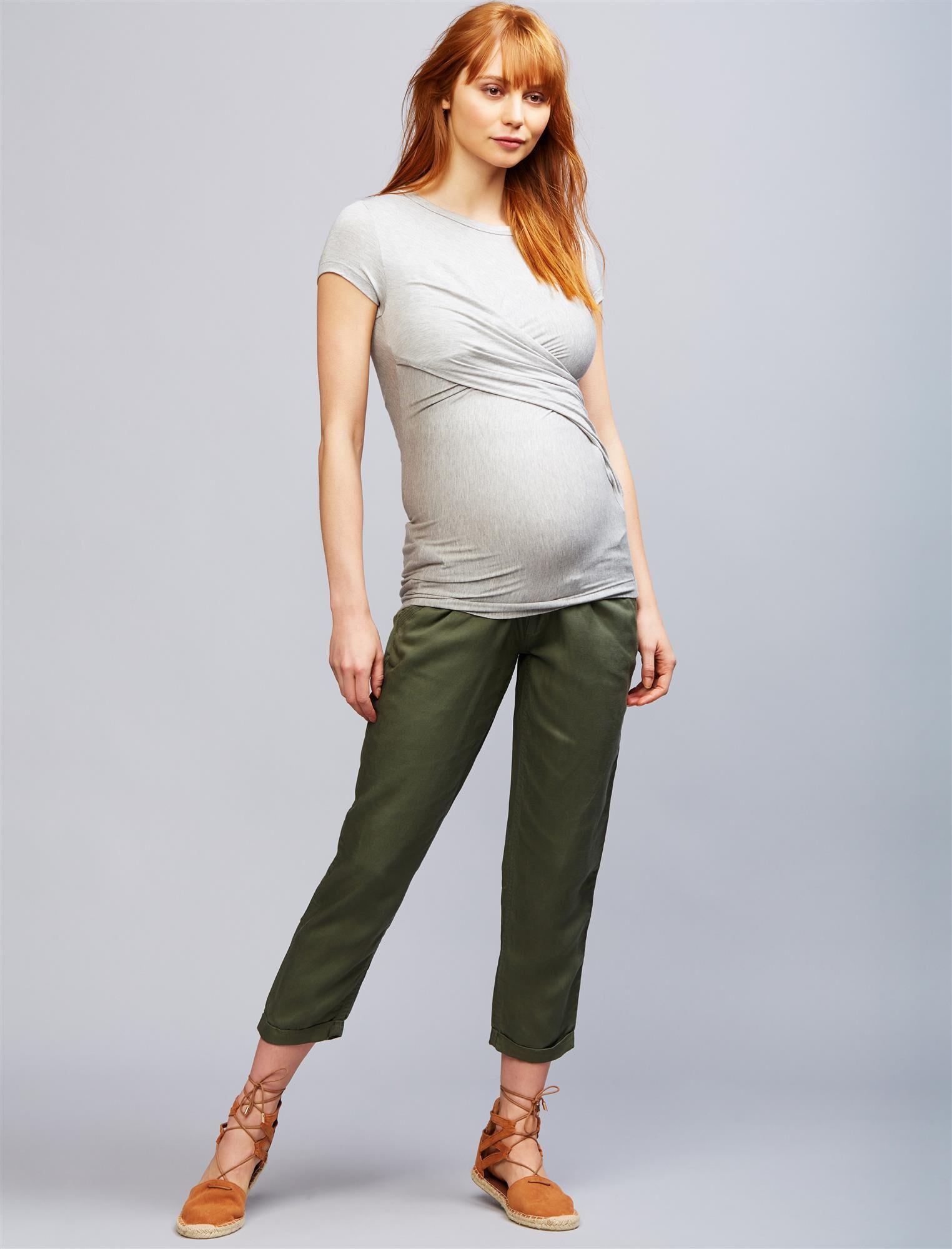 Secret Fit Belly Linen Blend Straight Leg Maternity Pants