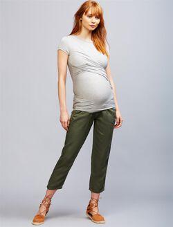 Secret Fit Belly Linen Blend Straight Leg Maternity Pants, Olvie