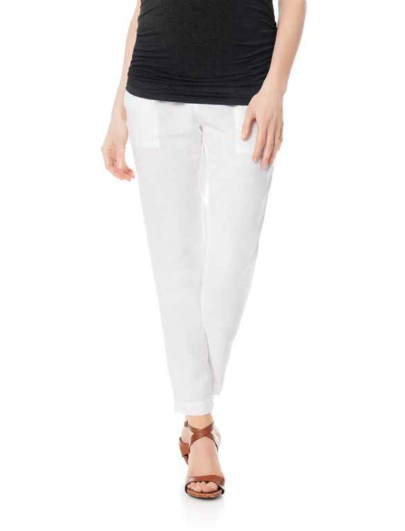 Enza Costa Pull On Style Linen Slim Leg Maternity Pants, White