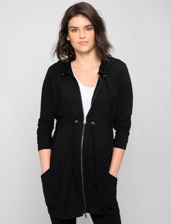 Zip Front Maternity Cardigan, Black 1