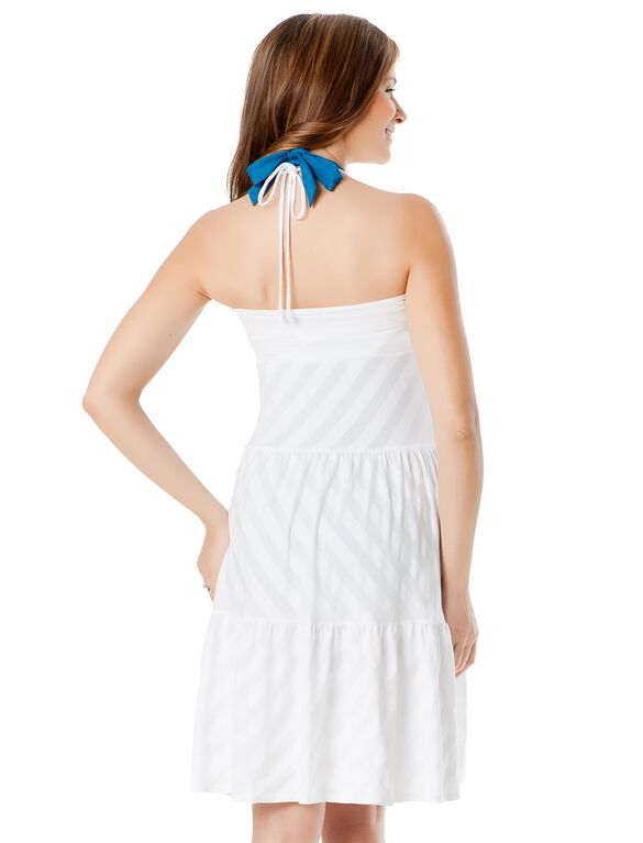 Tiered Maternity Swim Cover-up, White