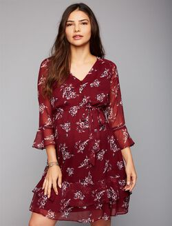 Floral Ruffled Maternity Dress, Burgundy Floral