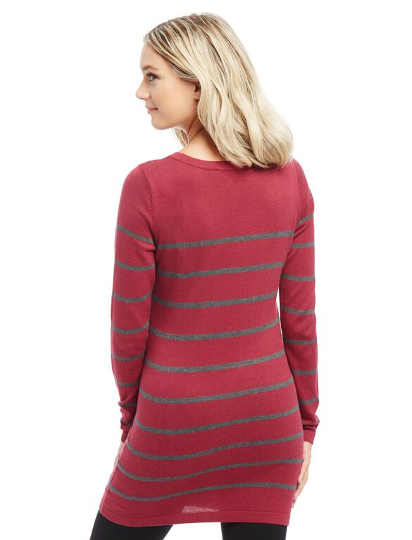 Button Detail Maternity Sweater, Burgundy Stripe