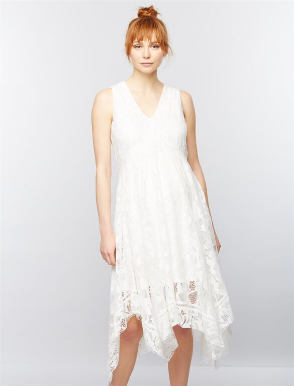 Taylor Lace Maternity Dress, White