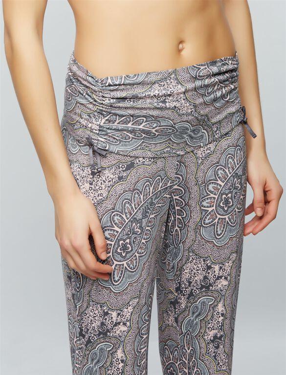 Bow Detail Maternity Sleep Pants, Paisley Print
