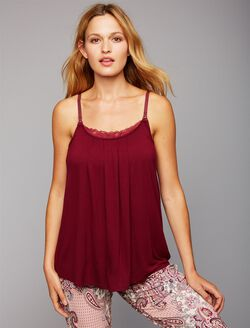 Lace Trim Nursing Cami- Print, Mulled Wine