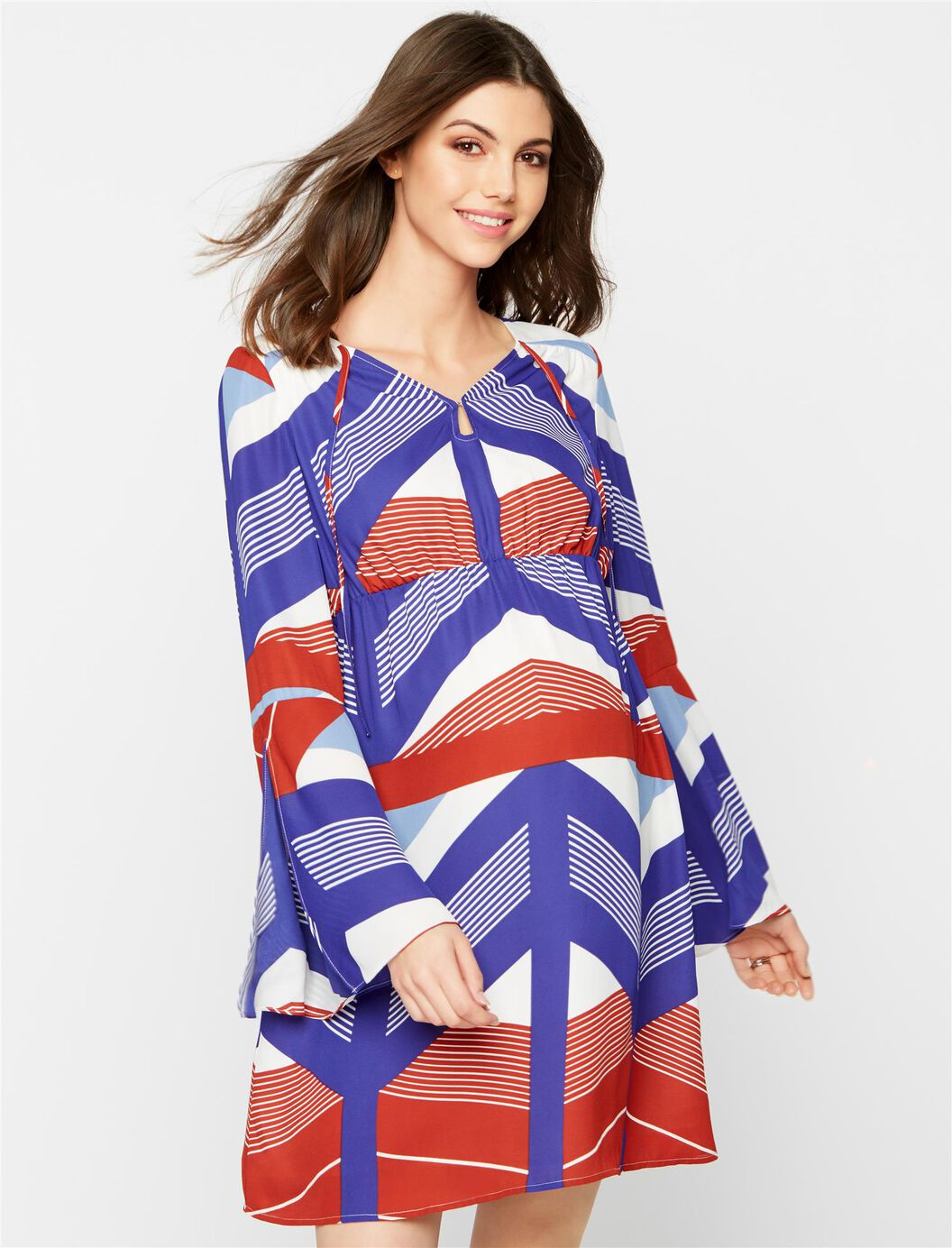 Bell sleeve maternity mini dress a pea in the pod maternity bell sleeve maternity mini dress multi stripe ombrellifo Images