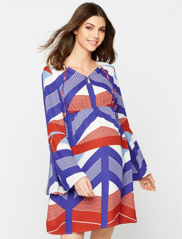 Bell Sleeve Maternity Mini Dress, Multi Stripe