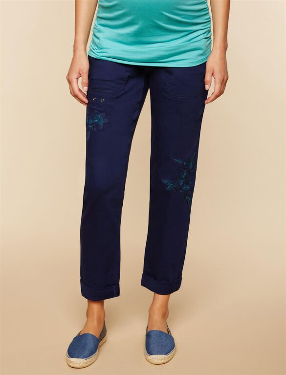 Under Belly Twill Straight Leg Maternity Pants, NAVY