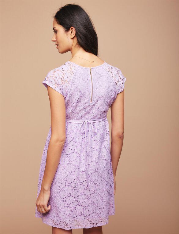 Lace Back Zip Maternity Dress, Purple