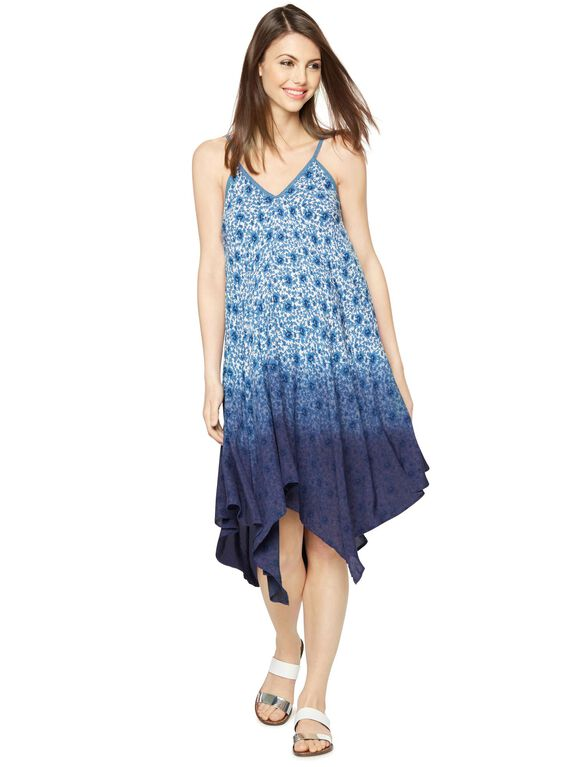 Floral Hanky Hem Maternity Dress, Print