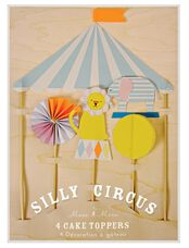Meri Meri Silly Circus Take Toppers, Multi Color