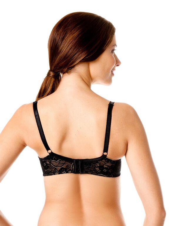 Full Coverage Lace Nursing Bra, NudeBlackLace