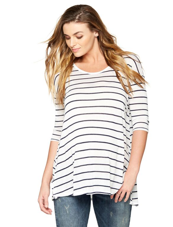 Maternity T Shirt, White/Navy Stipe