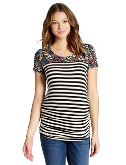 Jessica Simpson Side Ruched Maternity T Shirt, Black/Ecru