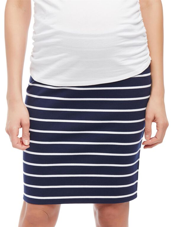 Secret Fit Belly Striped Pencil Fit Maternity Skirt, Navy/White Stripe
