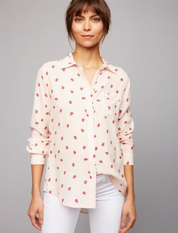 Rails Strawberry Maternity Shirt, Strawberry Print