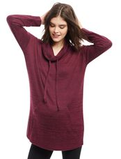 Cowl Neck High-low Hem Maternity Sweater, Dark Wine