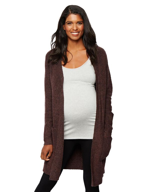 Open Front Maternity Sweater, Burgundy