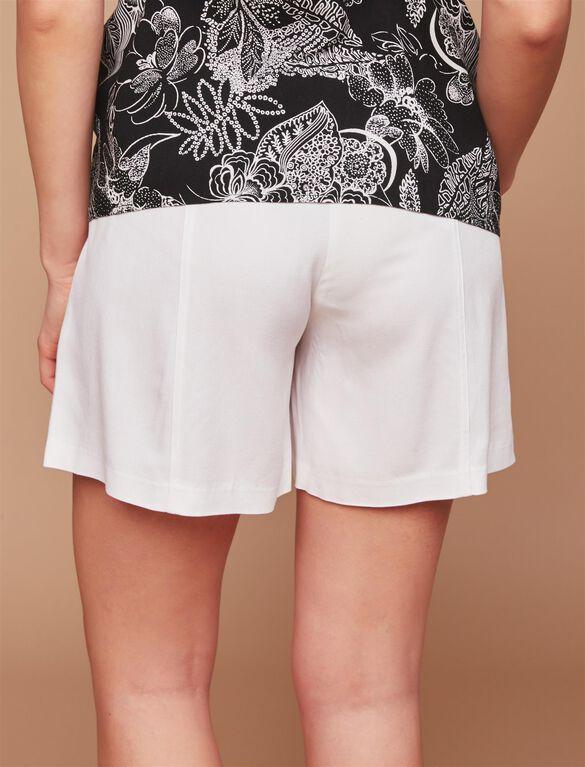 Secret Fit Belly Sash Belt Maternity Shorts, White