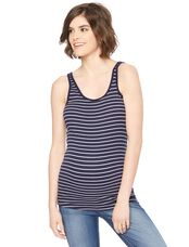 Rib Knit Maternity Tank- Stripe, Navy White Stripe