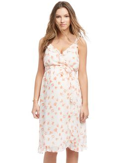 Ruffle Front Tie Detail Maternity Dress- Orange Floral, Orange Floral