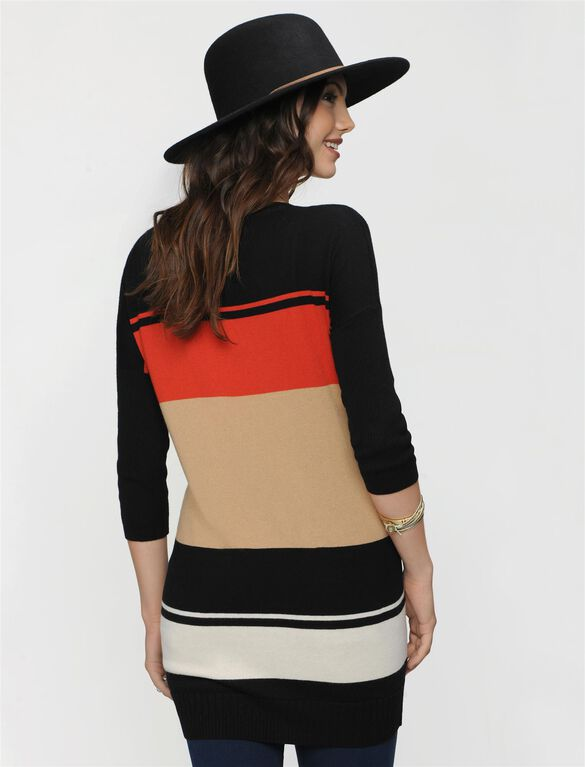 Drop Shoulder Maternity Sweater, Spice Multi Stripe