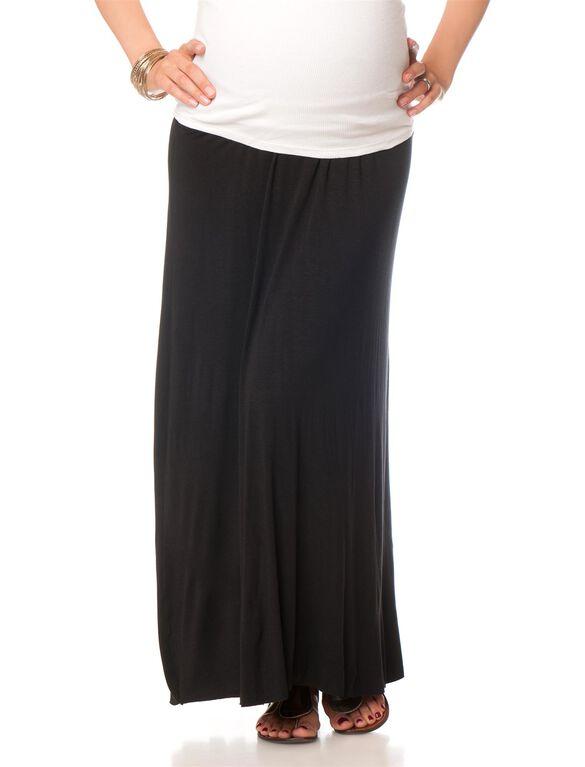 Fold Over Belly Lightweight Maternity Skirt, Black