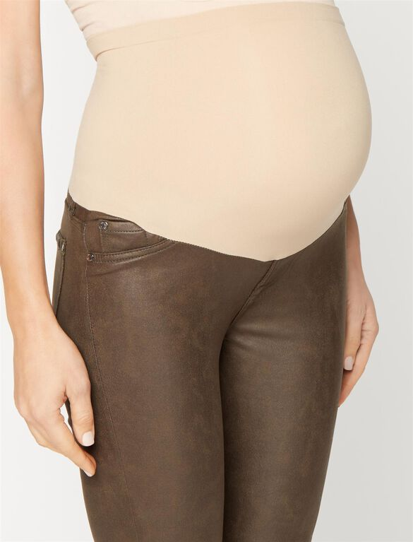 7 For All Mankind Secret Fit Belly Skinny Leg Maternity Pants, Mink Leather-like