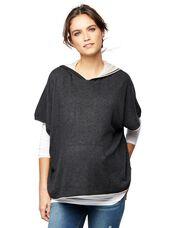 Splendid Poncho Maternity Sweater, Grey