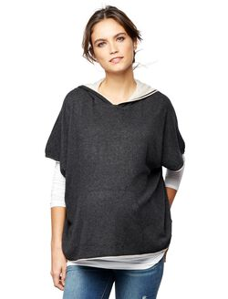 Splendid Poncho Maternity Sweater, Grey