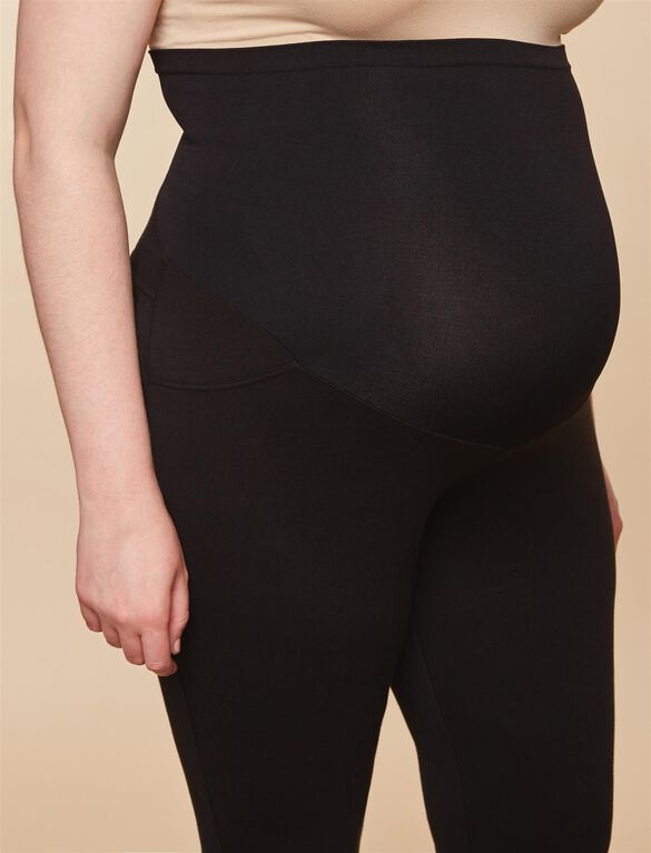 Plus Size Secret Fit Belly French Terry Maternity Pants, Black