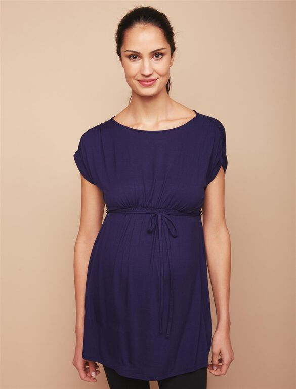 Shirred Waist Maternity Tunic- Navy, Navy