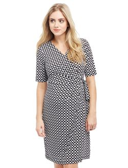 Waist Tie Surplice Maternity Dress- Geo Print, Geo Print