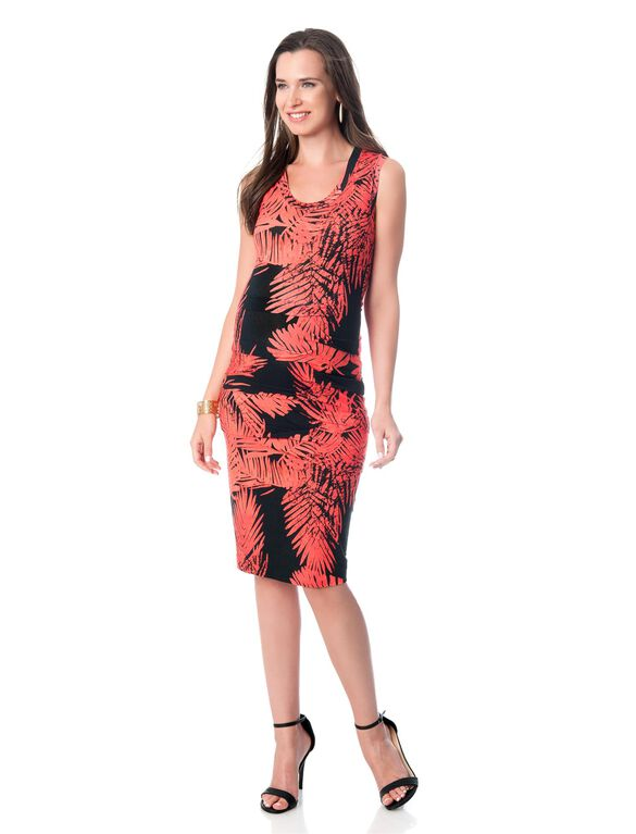 Maternity Dress, Hot Coral/Black