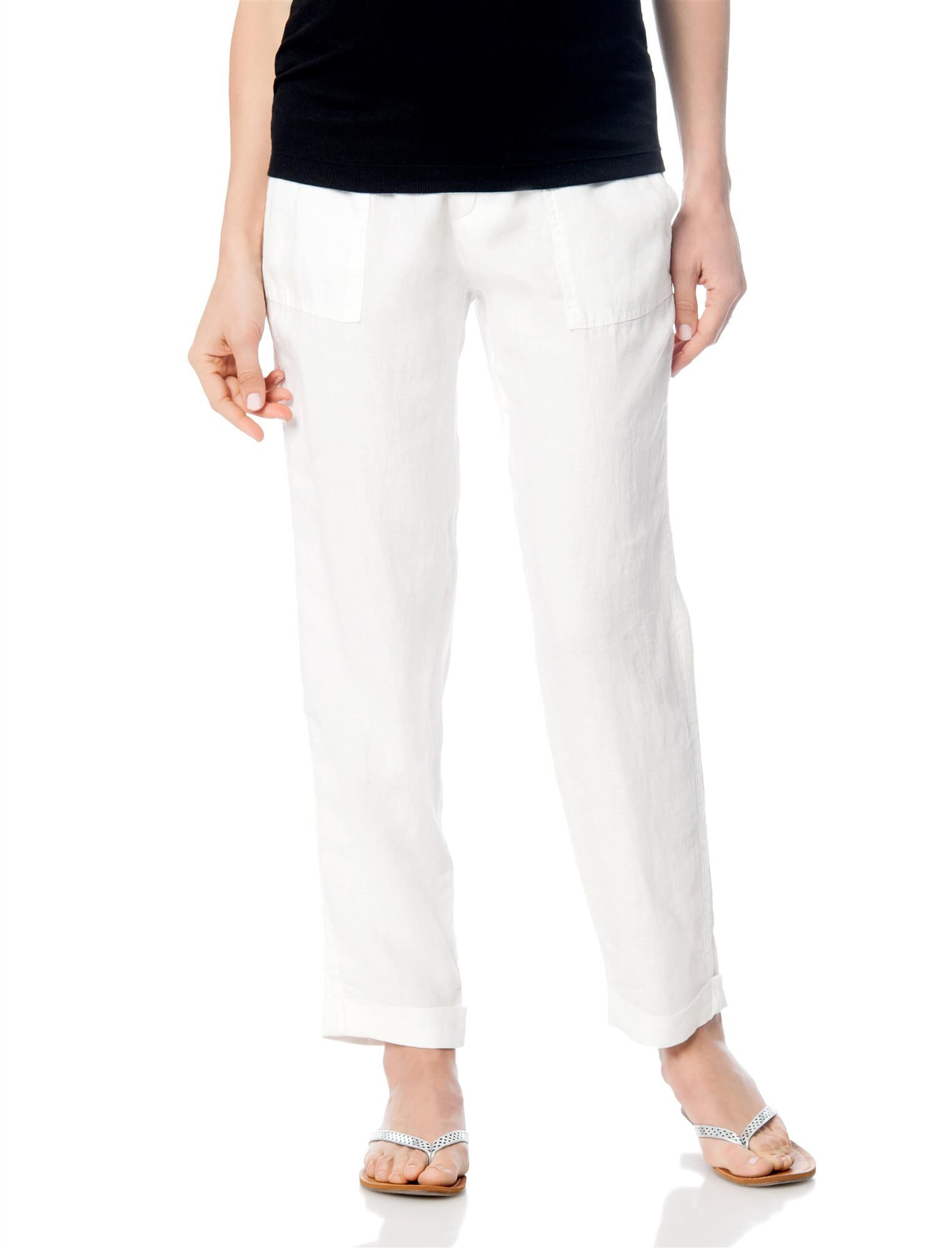Pull On Style Linen Straight Leg Maternity Pants