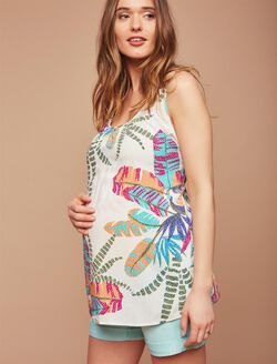 Removable Waist Tie Maternity Blouse, Tropical Floral