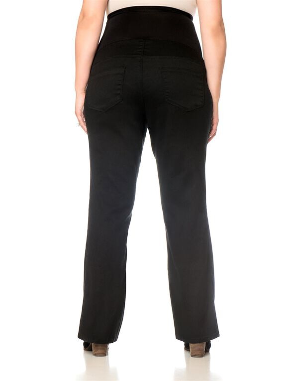 Motherhood Plus Size Petite Boot Cut Maternity Pants, Black