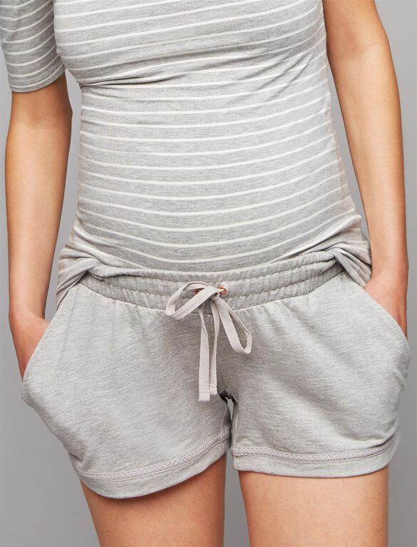 Under Belly French Terry Maternity Shorts, Light Heather Grey