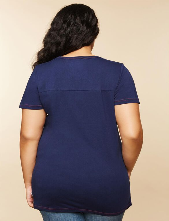 Plus Size Ruched Maternity T Shirt, Blue Patriots