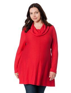 Plus Size Hanky Hem Maternity Sweater, Red
