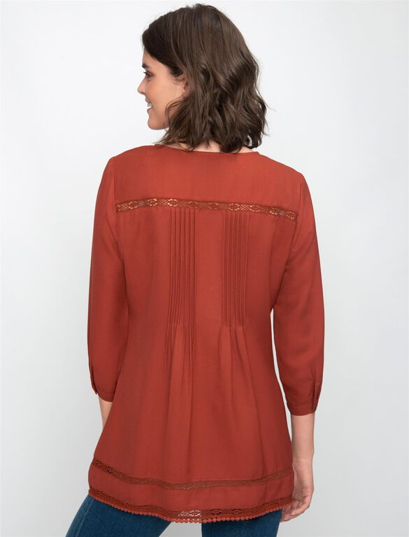 A-line Maternity Blouse, Rust