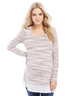 Woven Hem Maternity Tunic- Spacedye, Multi-color