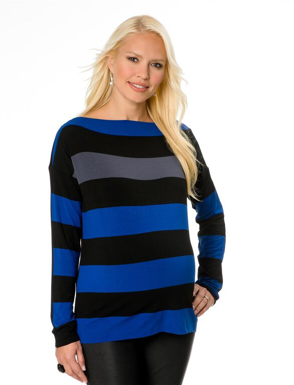 Bailey 44 Striped Maternity Top, Blue/Black/Grey