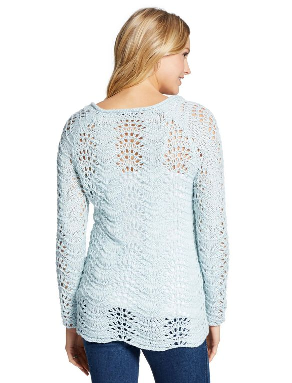 Jessica Simpson Pointelle Scallop Hem Maternity Sweater, Blue