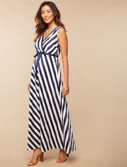 Jessica Simpson Sash Belt Maternity Dress, Navy/White Stripe