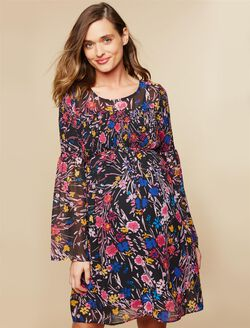 Keyhole Detail Maternity Dress, Black Floral